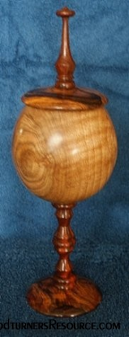 Lidded Walnut and Cocobolo Pedestal Box