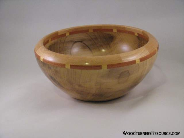 Beech bowl with segmented accent rings