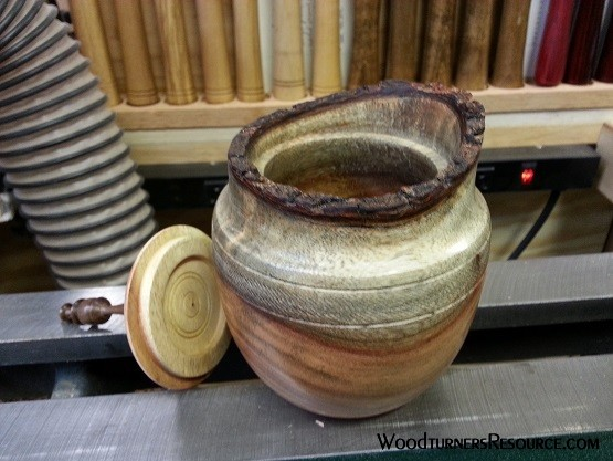 Lidded pot/box with Natural Edge from Carob wood, lid off