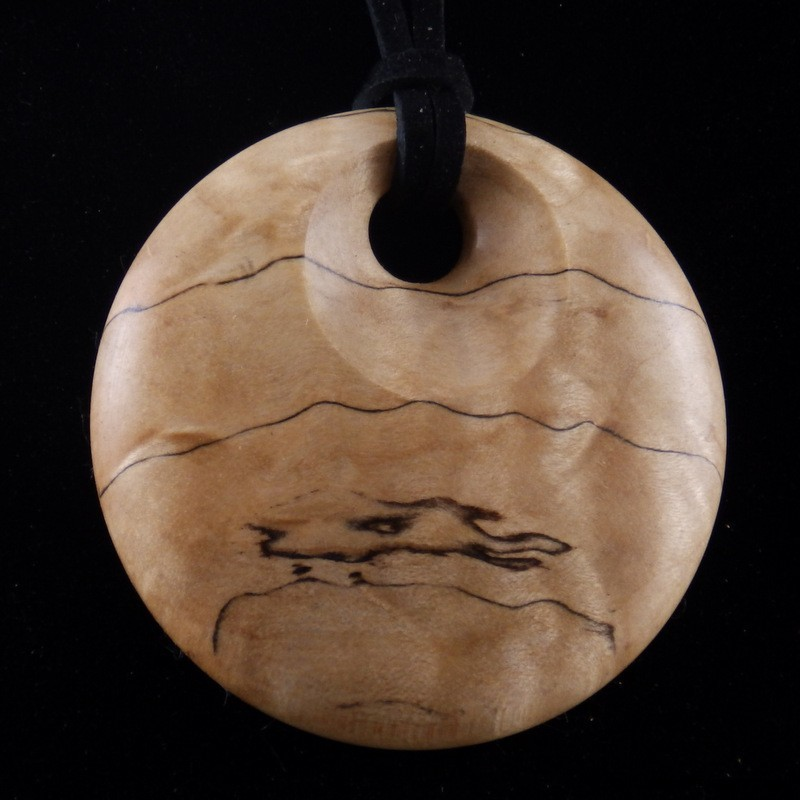 Pendant - Curly Birch with Black Spalt Line