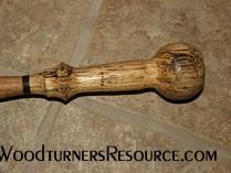 Oak, walnut & spalted oak walking stick #6 close-up