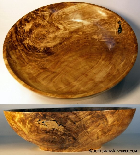 Large Spalted Birch crotch bowl