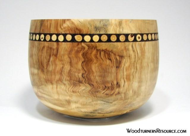Cottonwood bowl with Chokecherry twig inlay