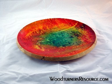 Spalted sycamore platter with analine dye