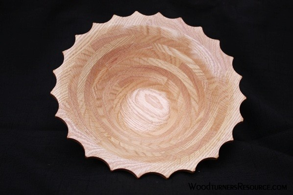 Scalloped Oak Bowl